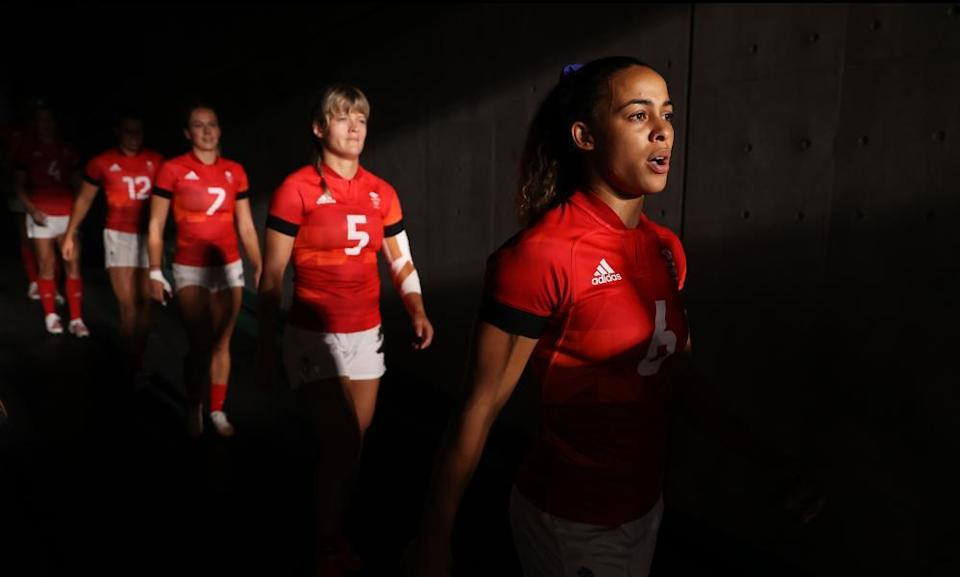 Deborah Fleming of Team Great Britain prepares to take the field in the rugby sevens quarter final.