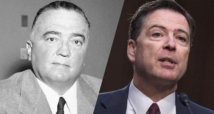 Former FBI directors J. Edgar Hoover and James Comey. (Photos: Herbert K. White/AP, Tom Williams/CQ Roll Call)