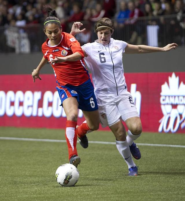 VANCOUVER, CANADA - JANUARY 27: Carol Sanchez #6 of Costa Rica and Amy LePeilbet #6 of the United States battle for the ball during the first half of semifinals action of the 2012 CONCACAF WomenÕs Olympic Qualifying Tournament at BC Place on January 27, 2012 in Vancouver, British Columbia, Canada. (Photo by Rich Lam/Getty Images)