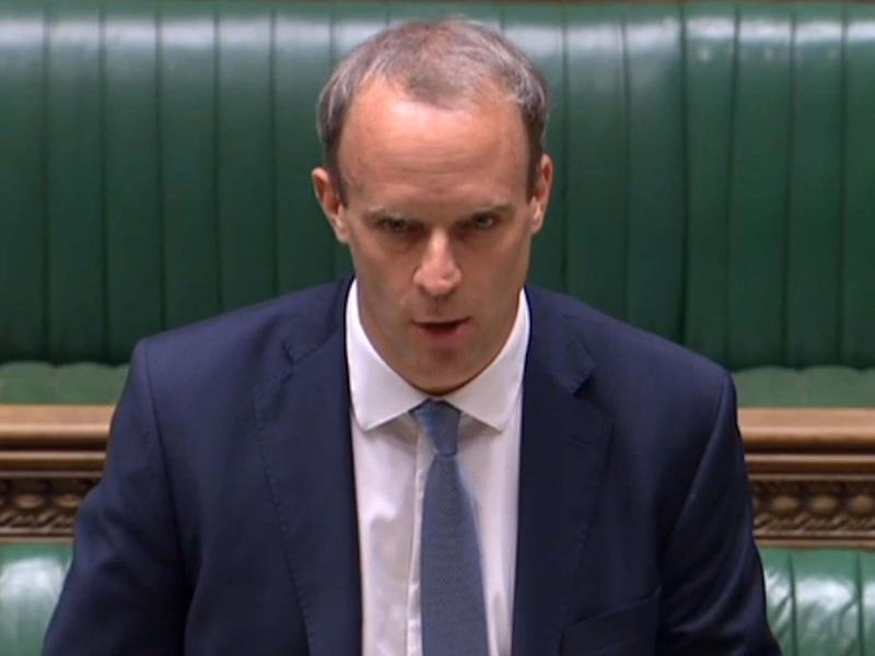 Foreign Secretary Dominic Raab making a statement in the House of Commons in London on July 6, 2020: PRU/AFP via Getty Images