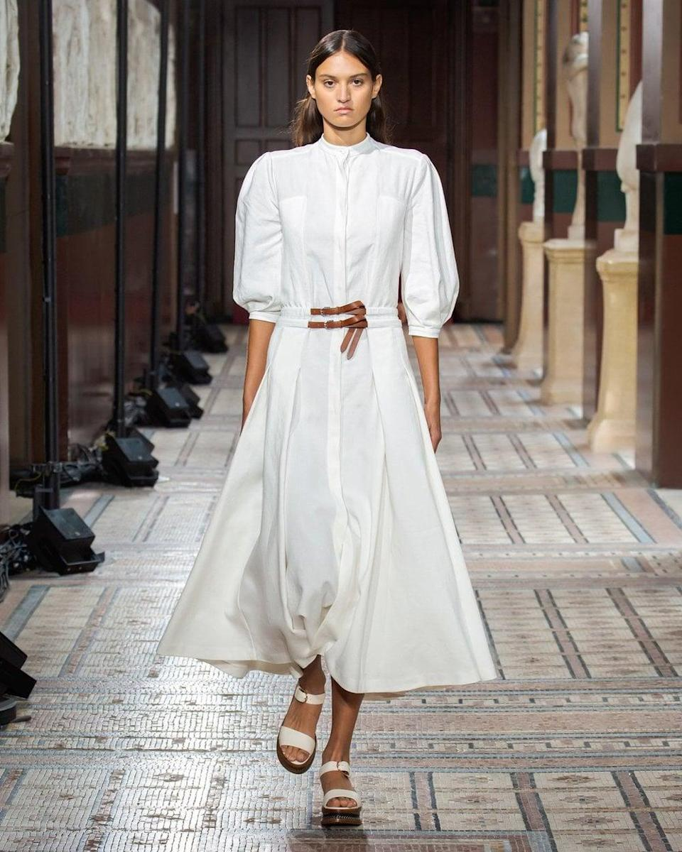 """<p>If you're looking for a luxury brand that's sustainable, look no futher than Gabriela Hearst. The designer's collections is worth the investment and is """"built on the principles of timelessness, uncompromising quality and sustainability.""""</p> <p><strong>What We'd Buy</strong>: <span>Gabriela Hearst Lewis Dress</span> ($2,690)</p>"""