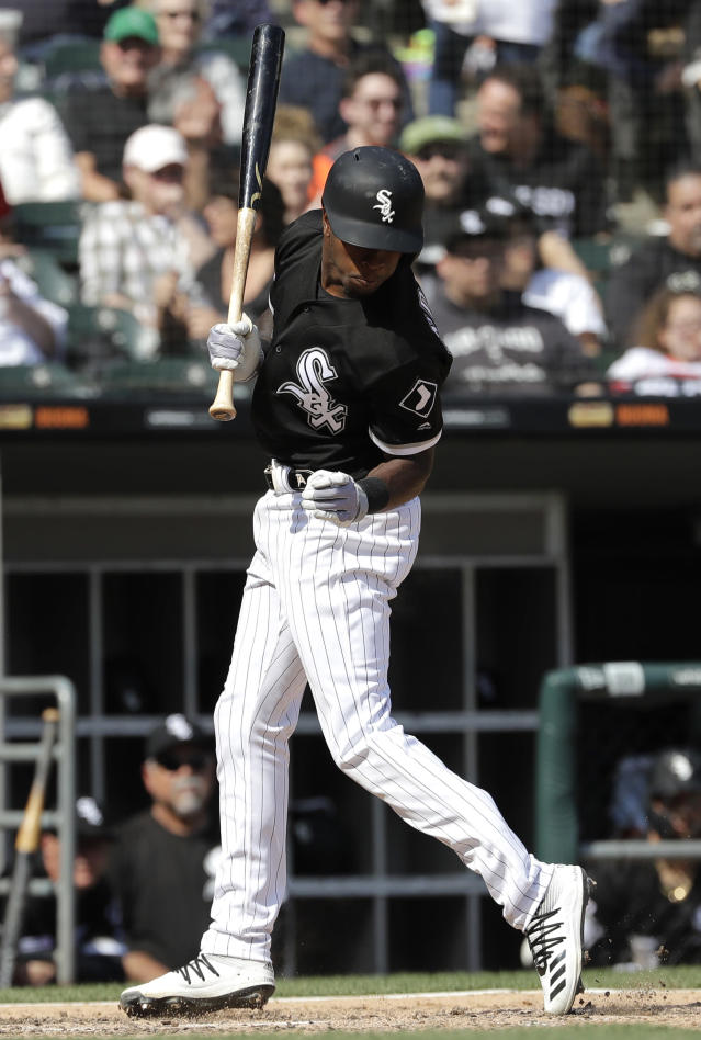 Chicago White Sox's Tim Anderson reacts as he is hit by a pitch during the sixth inning of a baseball game against the Kansas City Royals in Chicago, Wednesday, April 17, 2019. (AP Photo/Nam Y. Huh)