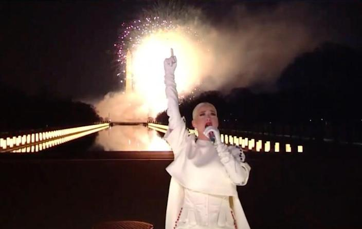 In this screengrab, Katy Perry performs during the Celebrating America Primetime Special