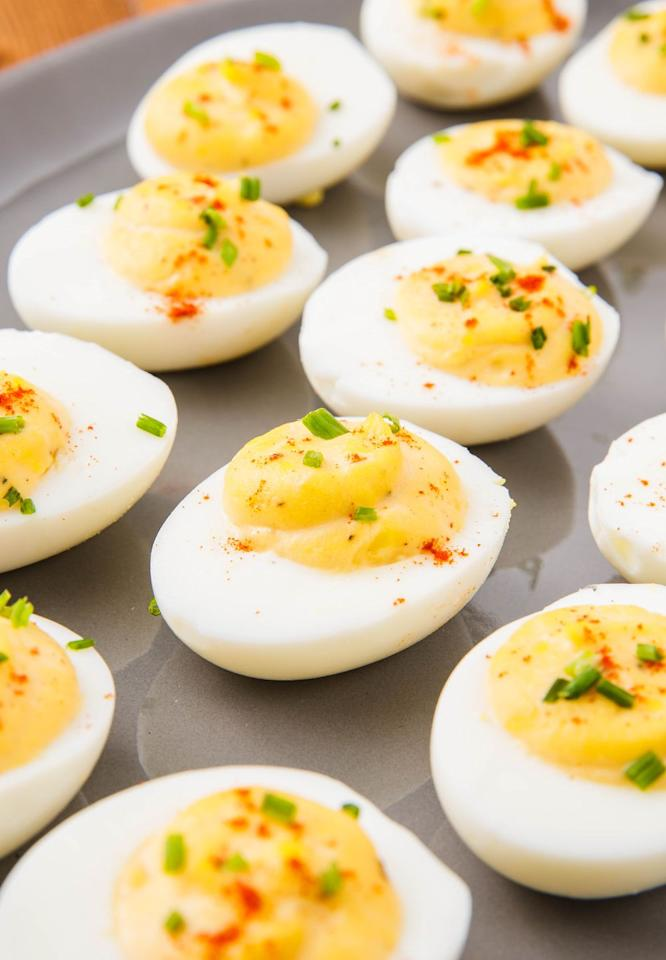"<p>Deviled eggs were basically made for Easter-here's our classic recipe. </p><p>Get the recipe from <a href=""https://www.delish.com/cooking/recipe-ideas/a51851/classic-deviled-eggs-recipe/"" target=""_blank"">Delish</a>. </p>"