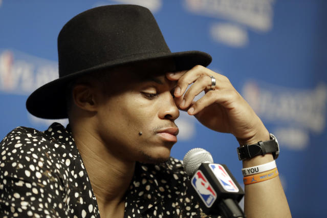 "<a class=""link rapid-noclick-resp"" href=""/nba/players/4390/"" data-ylk=""slk:Russell Westbrook"">Russell Westbrook</a> has a decision to make, and the Thunder's future could depend on it. (AP)"