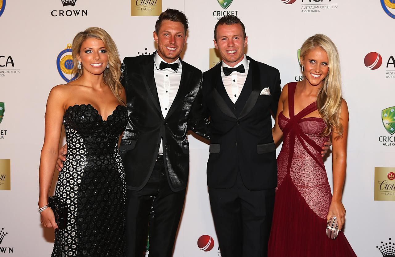 MELBOURNE, AUSTRALIA - FEBRUARY 04:  James Pattinson of Australia and his partner Kayla Dickson and Peter Siddle of Australia and his partner Anna Weatherlake arrive at the 2013 Allan Border Medal awards ceremony at Crown Palladium on February 4, 2013 in Melbourne, Australia.  (Photo by Quinn Rooney/Getty Images)