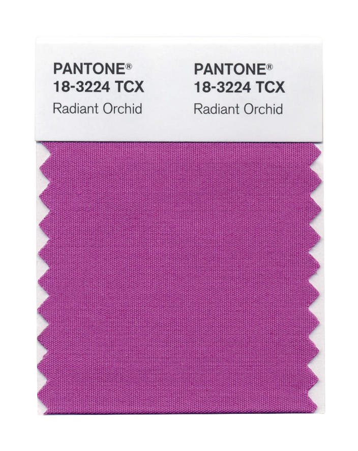 This photo provided by Pantone shows the Radiant Orchid color swatch for Pantone. Pantone's Radiant Orchid, selected as color of the year will, in theory, will have a strong presence in fashion, beauty, home design and consumer products. (AP Photo/Pantone)
