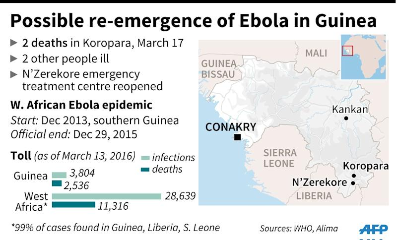 Possible re-emergence of Ebola in Guinea (AFP Photo/Jean Michel CORNU, Alain BOMMENEL, Laurence SAUBADU)
