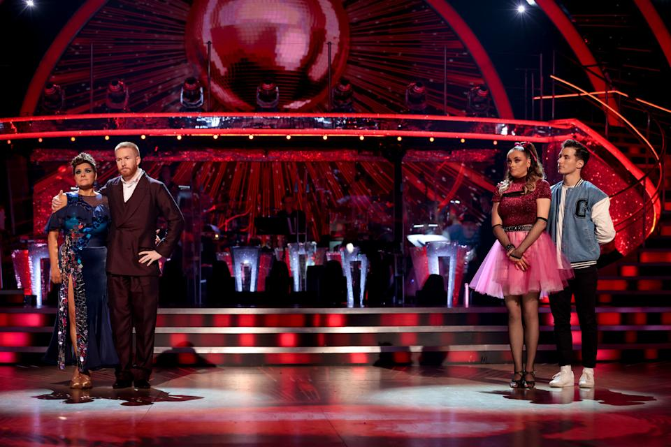 WARNING: Embargoed for publication until 20:00:01 on 03/10/2021 - Programme Name: Strictly Come Dancing 2021 - TX: 03/10/2021 - Episode: Strictly Come Dancing - TX2 RESULTS SHOW (No. n/a) - Picture Shows: *NOT FOR PUBLICATION UNTIL 20:00hrs, SUNDAY 3RD OCTBER, 2021* Nina Wadia, Neil Jones, Katie McGlynn, Gorka Marquez - (C) BBC - Photographer: Guy Levy