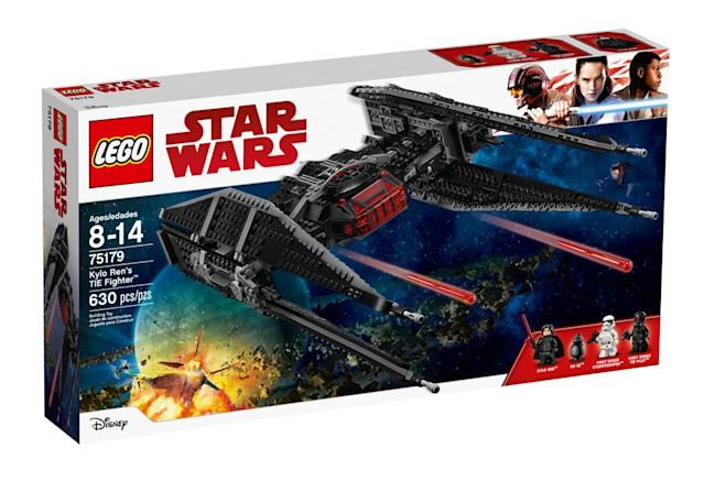 "<p>""The Resistance has been spotted! Put Kylo into the cockpit of his super-fast TIE Fighter and blast off in hot pursuit. When you get close, push the triggers to fire the spring-loaded missiles and send those Resistance ships spinning out of control!"" $79.99 (Lego) </p>"