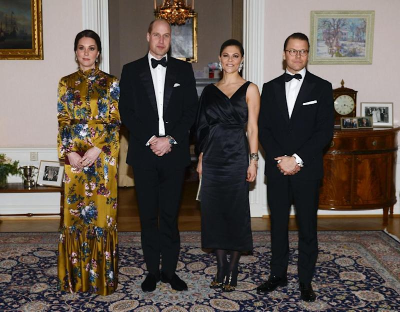 Kate Middleton and Prince William are on a royal tour of Sweden. Here they are pictured with Crown Princess Victoria and Prince Daniel. Photo: Getty Images