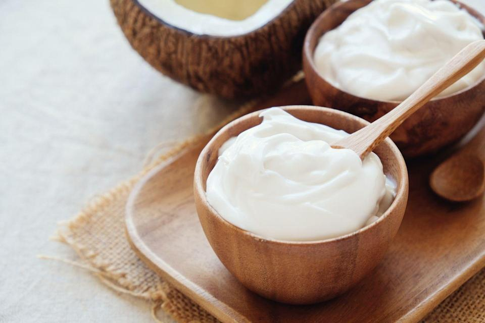 """<p>People who ate three to four ounces of yogurt daily were nearly 20% less likely to develop lung cancer compared to non-yogurt eaters, a <a href=""""https://jamanetwork.com/journals/jamaoncology/fullarticle/10.1001/jamaoncol.2019.4107"""" rel=""""nofollow noopener"""" target=""""_blank"""" data-ylk=""""slk:recent study"""" class=""""link rapid-noclick-resp"""">recent study</a> found. Experts suspect that the benefit could at least partly come from yogurt's <a href=""""https://www.prevention.com/weight-loss/a21528828/probiotics-weight-loss/"""" rel=""""nofollow noopener"""" target=""""_blank"""" data-ylk=""""slk:probiotics"""" class=""""link rapid-noclick-resp"""">probiotics</a>, which might reduce cancer-causing inflammation by promoting a healthier microbiome.</p><p><strong>Try it:</strong> <a href=""""https://www.prevention.com/food-nutrition/recipes/a20522990/apple-cinnamon-yogurt/"""" rel=""""nofollow noopener"""" target=""""_blank"""" data-ylk=""""slk:Apple-Cinnamon Yogurt"""" class=""""link rapid-noclick-resp"""">Apple-Cinnamon Yogurt</a></p>"""
