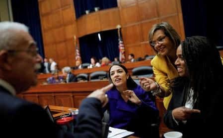 U.S. Rep. Connolly talks with Reps. Ocasio-Cortez, Ayanna Pressley (D-MA) departs after House Oversight and Reform Committee voted to subpeona White House on Capitol Hill in Washington