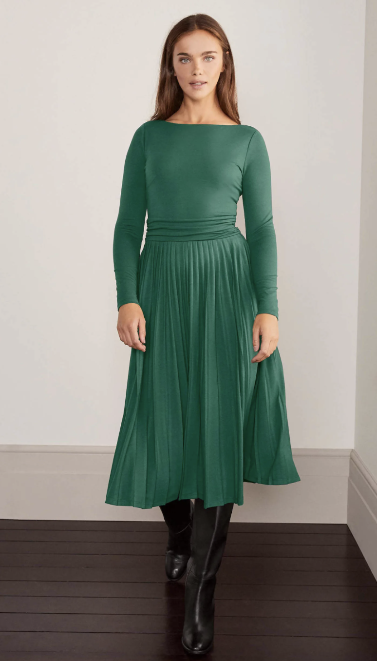 Catherine Jersey Pleated Dress (Boden)