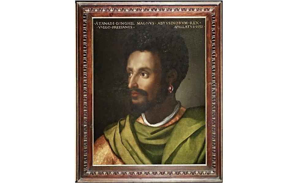 "he painting ""King of Abyssinia"" by Cristofano dell'Altissimo is seen at the Uffizi gallery, one of the artworks featured in its ""Black Presence"" project  - Reuters"