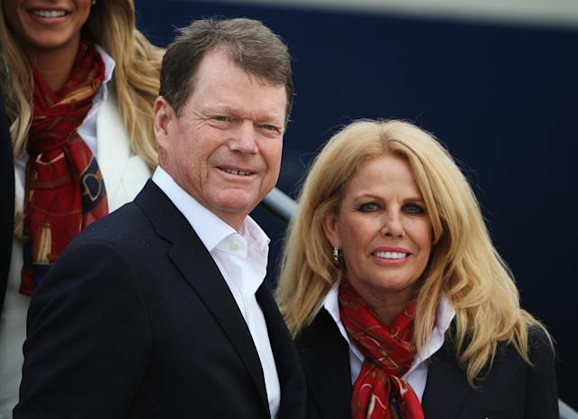"<a class=""link rapid-noclick-resp"" href=""/golf/champions/players/Tom+Watson/59"" data-ylk=""slk:Tom Watson"">Tom Watson</a>'s wife, Hilary Watson, died on Wednesday at age 63 after a battle with pancreatic cancer. (Photo by Ross Kinnaird/Getty Images)"
