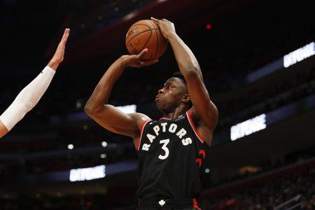 FILE PHOTO: Mar 17, 2019; Detroit, MI, USA; Toronto Raptors forward OG Anunoby (3) takes a shot during the fourth quarter against the Detroit Pistons at Little Caesars Arena. Mandatory Credit: Raj Mehta-USA TODAY Sports