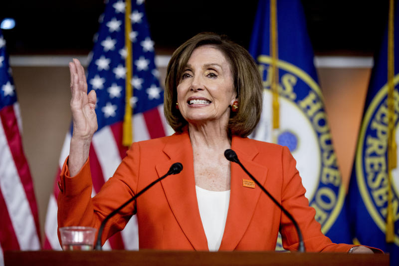 House Speaker Nancy Pelosi of Calif. meets with reporters at the Capitol in Washington, Wednesday, June 5, 2019. (AP Photo/Andrew Harnik)