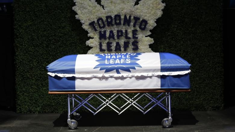 Leafs legend Johnny Bower remembered as tough competitor, 'humble' man at public memorial