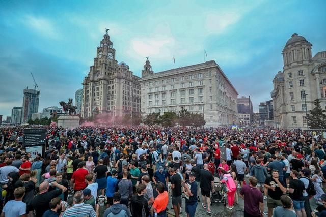 Liverpool fans gathered in the city centre after they won the Premier League title