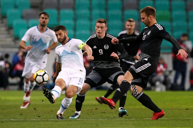 Soccer Football - International Friendly - Slovenia vs Belarus - Stozice Stadium, Ljubljana, Slovenia - March 27, 2018 Slovenia's Bojan Jokic in action with Belarus' Yuri Kovalev REUTERS/Borut Zivulovic