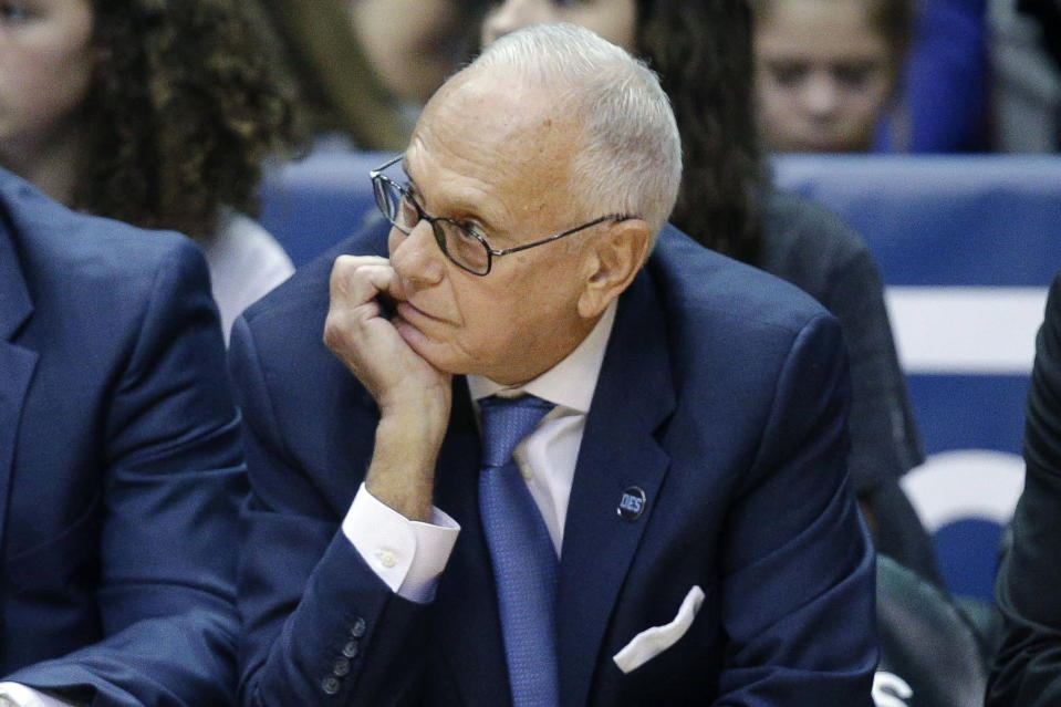 FILE - In this March 6, 2016, file photo, SMU head coach Larry Brown watches his players from the bench during the first half of an NCAA college basketball game against Cincinnati in Cincinnati. Memphis coach Penny Hardaway has added Hall of Famer Larry Brown to the Tigers' staff as an assistant, reuniting the former New York Knicks player and coach. (AP Photo/John Minchillo, File)