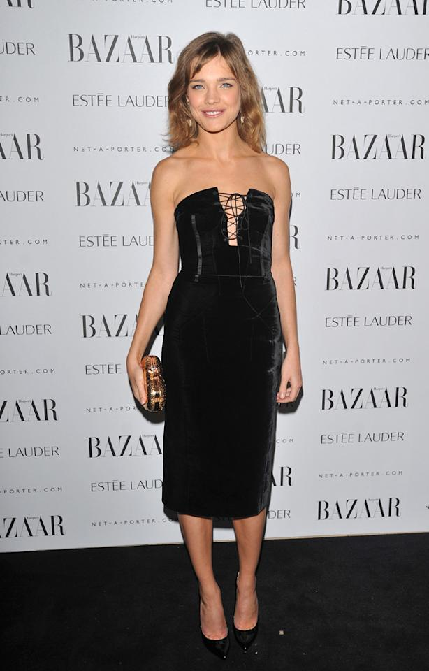 Natalia Vodianova laced herself in to her LBD.