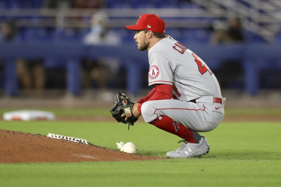 Los Angeles Angels starting pitcher Griffin Canning reacts after giving up a home run to Toronto Blue Jays' Cavan Biggio during the sixth inning of a baseball game Thursday, April 8, 2021, in Dunedin, Fla. (AP Photo/Mike Carlson)