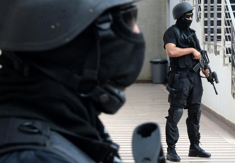 Members of the Moroccan special forces stand guard inside the Moroccan Central Bureau of Judicial Investigation (BCIJ) building on September 14, 2015 in Rabat