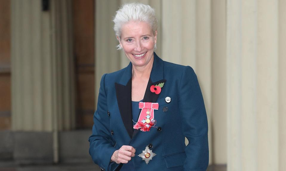 Emma Thompson demonstrated her sartorial know-how in a chic suit [Photo: Getty]