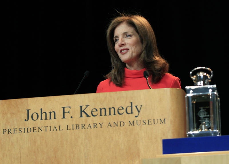 Caroline Kennedy speaks during the presentation of the 2012 John F. Kennedy Profile in Courage Awards at the JFK Library in Boston, Monday, May 7, 2012. (AP Photo/Elise Amendola)