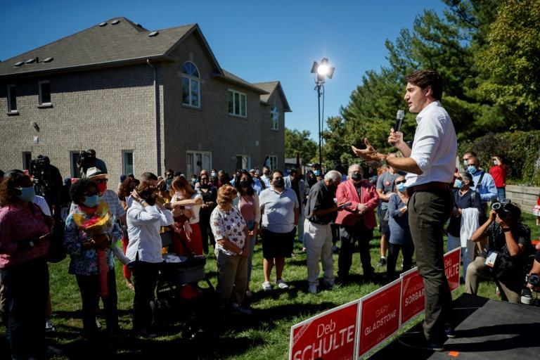 Canada's liberal prime minister Justin Trudeau campaigned hard for a third mandate and it paid off (AFP/Cole Burston)