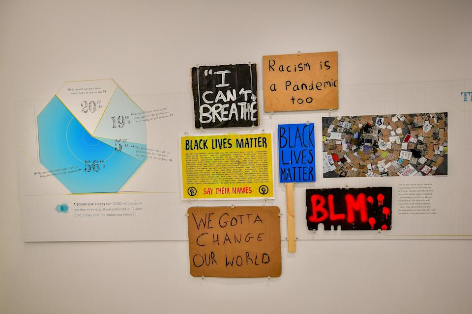 Placards from the protest are on display (Ben Birchall/PA) (PA Wire)