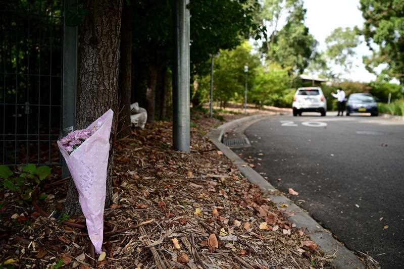 Flowers left outside the Anglicare Newmarch House in Western Sydney