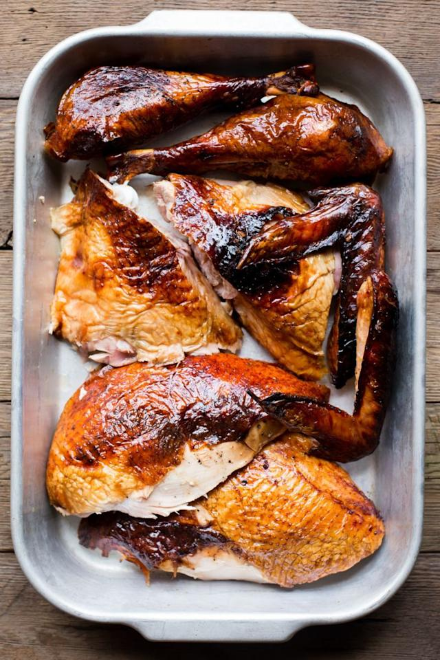 """<p>Russ Crandall, of the paleo diet-centric food blog<a href=""""http://thedomesticman.com/"""">The Domestic Man</a>, shares an exhaustive step-by-step guide of how to smoke your turkey on the grill. Not only does this method ensure a great smokey flavor, it means your oven is free for side dish and dessert prep all day long. <a href=""""https://www.yahoo.com/food/how-to-smoke-turkey-in-a-grill-125724934.html""""><b>Try the Smoked Turkey recipe. </b></a><i>(Photo: Russ Crandall)</i></p>"""