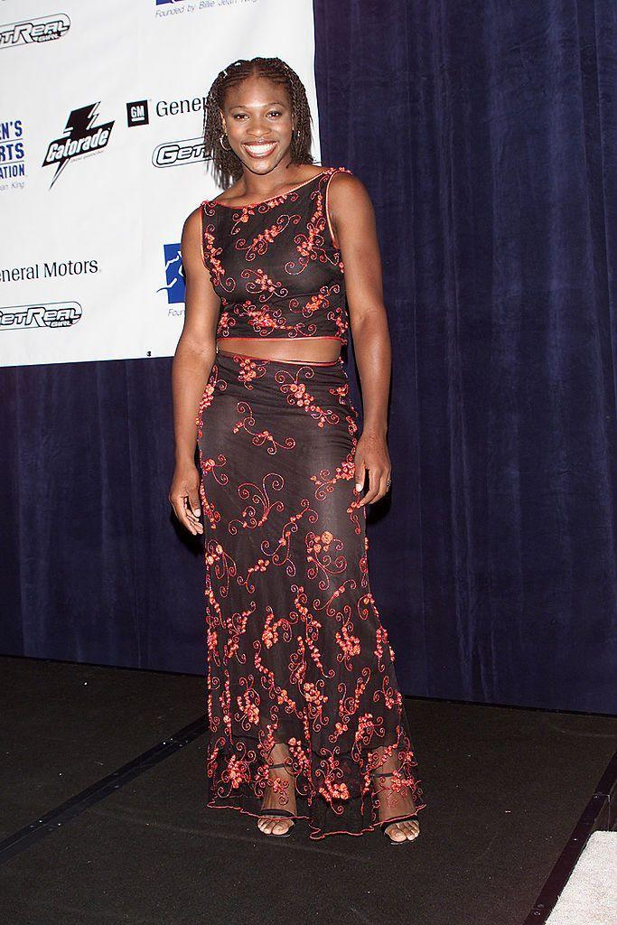 <p>Williams wore a black and red two-piece. </p>