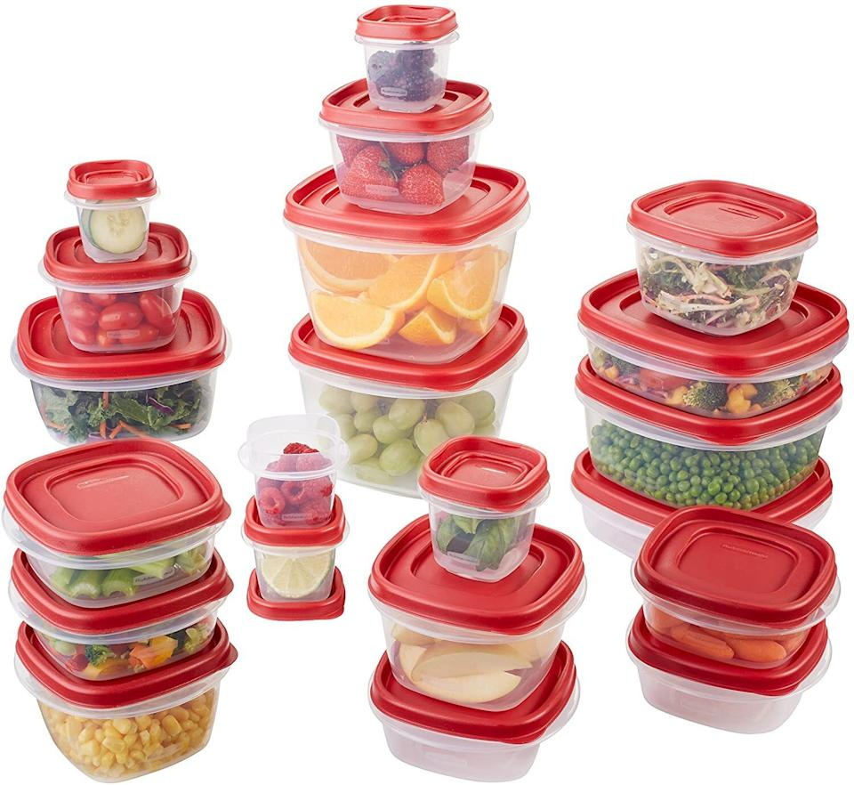 """With lids that snap onto the *bottom* of the containers, you'll never have to go on a 15-minute hunt for the right cover while your leftovers are sitting out. The set includes five 0.5-cup, five 1.25-cup, five 2-cup, two 3-cup, two 5-cup, and two 7-cup containers, plus the lids (of course).<br /><br /><strong>Promising review:</strong>""""These are rated #1 and I can see why! They are microwave and dishwasher safe. I love how they stack together and that the lids fit a couple of different sizes! Very sturdy and they look great! I hate dealing with container messes so much!!<strong>These have helped keep things more organized and makes it easy to find a lid or a container without losing my mind!</strong>The containers nest together, and the lids can stack on top of each other too. Locks firmly too! Yet it's easy to take the lids off. Extra bonus for me! I've already washed them, and they came out perfectly! Love these!! I bought the 42 piece set. It had enough variety in container storage and lids! I'm very happy I bought these!! I highly recommend them!"""" —<a href=""""https://www.amazon.com/dp/B00COK3FD8?tag=huffpost-bfsyndication-20&ascsubtag=5883859%2C11%2C54%2Cd%2C0%2C0%2C0%2C962%3A1%3B901%3A2%3B900%3A2%3B974%3A3%3B975%3A2%3B982%3A2%2C16464260%2C0"""" target=""""_blank"""" rel=""""noopener noreferrer"""">Geo</a><br /><strong><br />Get a 42-piece set from Amazon for<a href=""""https://www.amazon.com/dp/B00COK3FD8?tag=huffpost-bfsyndication-20&ascsubtag=5883859%2C11%2C54%2Cd%2C0%2C0%2C0%2C962%3A1%3B901%3A2%3B900%3A2%3B974%3A3%3B975%3A2%3B982%3A2%2C16464260%2C0"""" target=""""_blank"""" rel=""""noopener noreferrer"""">$29.88</a>.</strong>"""