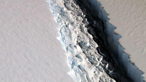"<img alt=""Https%3a%2f%2fblueprint-api-production.s3.amazonaws.com%2fuploads%2fcard%2fimage%2f306066%2flarsenccrackdec3""/><p>The breakup of the massive Larsen C Ice Shelf in Antarctica is getting closer and will eventually produce an iceberg the size of Delaware prowling the Southern Ocean, according to new NASA data. </p> <p>On Friday, NASA released an astonishing new image taken by researchers flying above the ice shelf on Nov. 10 showing the crack is getting longer, deeper and wider. Scientists think it will eventually cause a large section of the shelf to break off.</p> <p>The scientists associated with a NASA field campaign known as Operation IceBridge measured the Larsen C fracture to be about 70 miles long, more than 300 feet wide and about a third of a mile deep. </p> <div><p>SEE ALSO: <a rel=""nofollow"" href=""http://mashable.com/2016/03/31/antarctic-ice-sheet-melt-sea-level/?utm_campaign=mash-prod-synd-apple-all-full&utm_cid=mash-prod-synd-apple-all-full"">With a collapsing West Antarctica, sea level rise may be twice as high as we thought</a></p></div> <p>""The crack completely cuts through the Ice Shelf but it does not go all the way across it – once it does, it will produce an iceberg roughly the size of the state of Delaware,"" NASA said in a press release. </p> <div><div><blockquote> <p>View is of a rift in the Antarctic Peninsula's Larsen C ice shelf from our airborne survey of polar ice: <a rel=""nofollow"" href=""https://t.co/VgjxopHHLI"">https://t.co/VgjxopHHLI</a> <a rel=""nofollow"" href=""https://twitter.com/NASA_ICE"">@NASA_ICE</a> <a rel=""nofollow"" href=""https://t.co/gt5mpHqbxn"">pic.twitter.com/gt5mpHqbxn</a></p> <p>— NASA (@NASA) <a rel=""nofollow"" href=""https://twitter.com/NASA/status/805081785558335489"">December 3, 2016</a></p> </blockquote></div></div> <p>When this iceberg calving event happens,  likely within the next decade, it will be the largest calving event in Antarctica since 2000, the third biggest such event ever recorded and the largest from this particular ice shelf, scientists say. </p> <p>Larsen C lies next to a smaller ice shelf that disintegrated in 2002 after developing a crack similar to the one now growing in Larsen C.</p> <p><img title=""Map of Antarctica showing the amount of melting of ice shelves from below. Blue shades represent melt rates of greater than 5 meters (16.4 feet) per year. Arrow points to Larsen C Ice Shelf."" alt=""Map of Antarctica showing the amount of melting of ice shelves from below. Blue shades represent melt rates of greater than 5 meters (16.4 feet) per year. Arrow points to Larsen C Ice Shelf.""></p> <p>Map of Antarctica showing the amount of melting of ice shelves from below. Blue shades represent melt rates of greater than 5 meters (16.4 feet) per year. Arrow points to Larsen C Ice Shelf.</p><div><p>Image:  NASA/JPL-Caltech/UC Irvine/Columbia University</p></div><p>Ice shelves breaking off into icebergs don't directly increase sea levels, since their ice is already resting in the ocean like an ice cube in a glass. </p> <p>However, because they act like doorstops to the land-based ice behind them, when the shelves give way, the glaciers can begin moving into the sea. This adds new water to the ocean and therefore increases sea levels. </p> <div><div><blockquote> <p>The rift is likely to lead to an iceberg breaking off, which will remove about 10% of the ice shelf's area <a rel=""nofollow"" href=""https://t.co/uu1KKWG0WP"">pic.twitter.com/uu1KKWG0WP</a></p> <p>— Project MIDAS (@MIDASOnIce) <a rel=""nofollow"" href=""https://twitter.com/MIDASOnIce/status/766262296070983685"">August 18, 2016</a></p> </blockquote></div></div> <p>In the case of Larsen C, once the rift extends all the way across the shelf and breaks off the section of ice, a larger area of ice that is about the size of Scotland will destabilize and be at greater risk for melting, according to other research.</p> <p>In August, a British research team monitoring the Larsen C Ice Shelf found that the rift had expanded by 14 miles between March and August of 2016. This was the fastest rate of expansion the researchers had observed.</p> <div> <div> <div><h3></h3></div> <p><img title=""Larsen B Ice Shelf before its breakup in 2002."" alt=""Larsen B Ice Shelf before its breakup in 2002.""></p> <p>Larsen B Ice Shelf before its breakup in 2002.</p><div><p>Image:  nasa</p></div>  </div> <div> <div><h3></h3></div> <p><img title=""Larsen B Ice Shelf after its breakup in 2002."" alt=""Larsen B Ice Shelf after its breakup in 2002.""></p> <p>Larsen B Ice Shelf after its breakup in 2002.</p><div><p>Image:  nasa</p></div>  </div> </div> <p>The Larsen C Ice Shelf is the most northerly of the remaining major Antarctic Peninsula ice shelves. This part of Antarctica has been warming rapidly in recent years due to a combination of increasing air and sea temperatures. </p> <p>The nearby Larsen B Ice Shelf made worldwide headlines in 2002 when it broke up after a similar process of rift-induced iceberg calving. The Larsen B event was featured in the <a rel=""nofollow"" href=""https://www.youtube.com/watch?v=mjw8KdCBHsc"">opening scenes</a> of the sci-fi climate change-related disaster film, <em>The Day After Tomorrow</em>.</p> <div> <h2>BONUS: New Zealand's earthquake literally cracked the Earth open</h2> <div></div> </div>"
