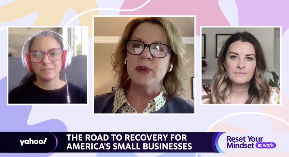 """(From left to right) Crisis Text Line CEO: Nancy Lublin; Tami Erwin, Verizon Business CEO; and Farmgirl Flowers CEO Christina Stembel appears on """"Reset Your Mindset at Work,"""" a special made in partnership between Yahoo! and Fortune."""