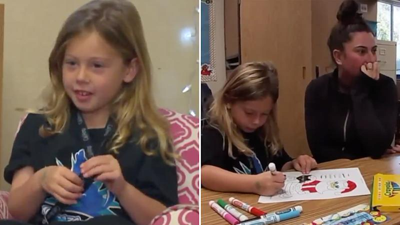 A 5-year-old California girl (left and right with her mum while colouring in a Santa picture) decided to help her classmates by setting up a hot chocolate stand.