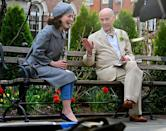 <p>John Waters cracks up Rachel Brosnahan as they film scenes for <em>The Marvelous Mrs. Maisel</em> in New York City on Wednesday. </p>