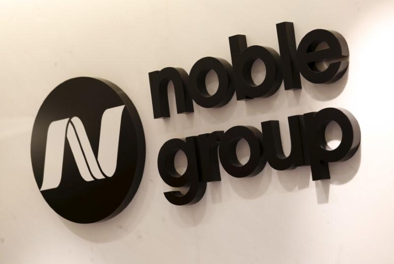 The company logo of Noble Group is displayed at its office in Hong Kong
