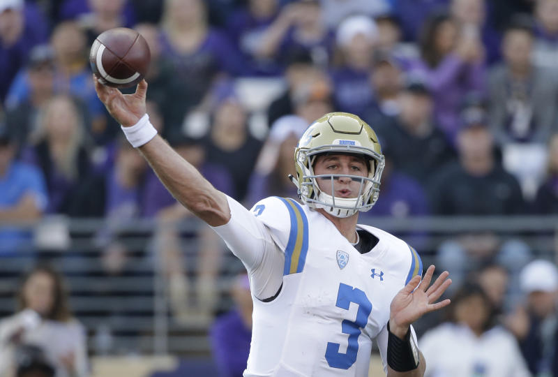 UCLA quarterback Josh Rosen is among the quarterbacks who could go with the first pick of the draft. (AP)