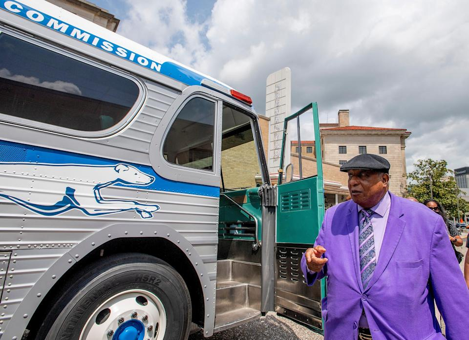 Freedom Rider Bernard Lafayette, Jr., checks out a restored vintage Greyhound bus as is unveiled at the Freedom Rides Museum in Montgomery, Ala., during a commemoration of the 60th anniversary of the Freedom Rides on May 4, 2021.