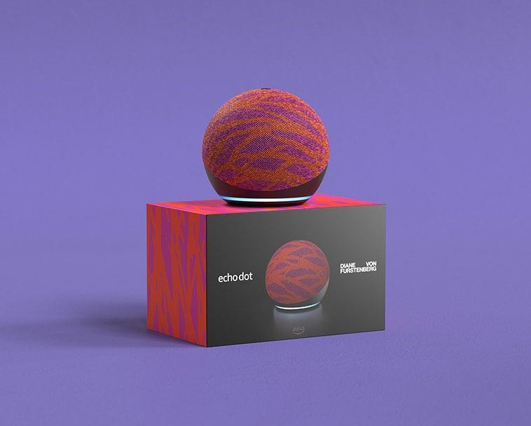 <p>If you love a good splash of color, the <span>Echo Dot (4th Gen) Limited Edition Diane von Furstenberg in Twigs</span> ($60) is a must! It's great as an accent piece on a console, bookshelf, or on a coffee table. You can ask Alexa to stream songs from Amazon Music, Apple Music, Spotify, SiriusXM, and more. You can even play audiobooks and podcasts throughout your home with multi-room music, especially if you have more than one Alexa device.</p>