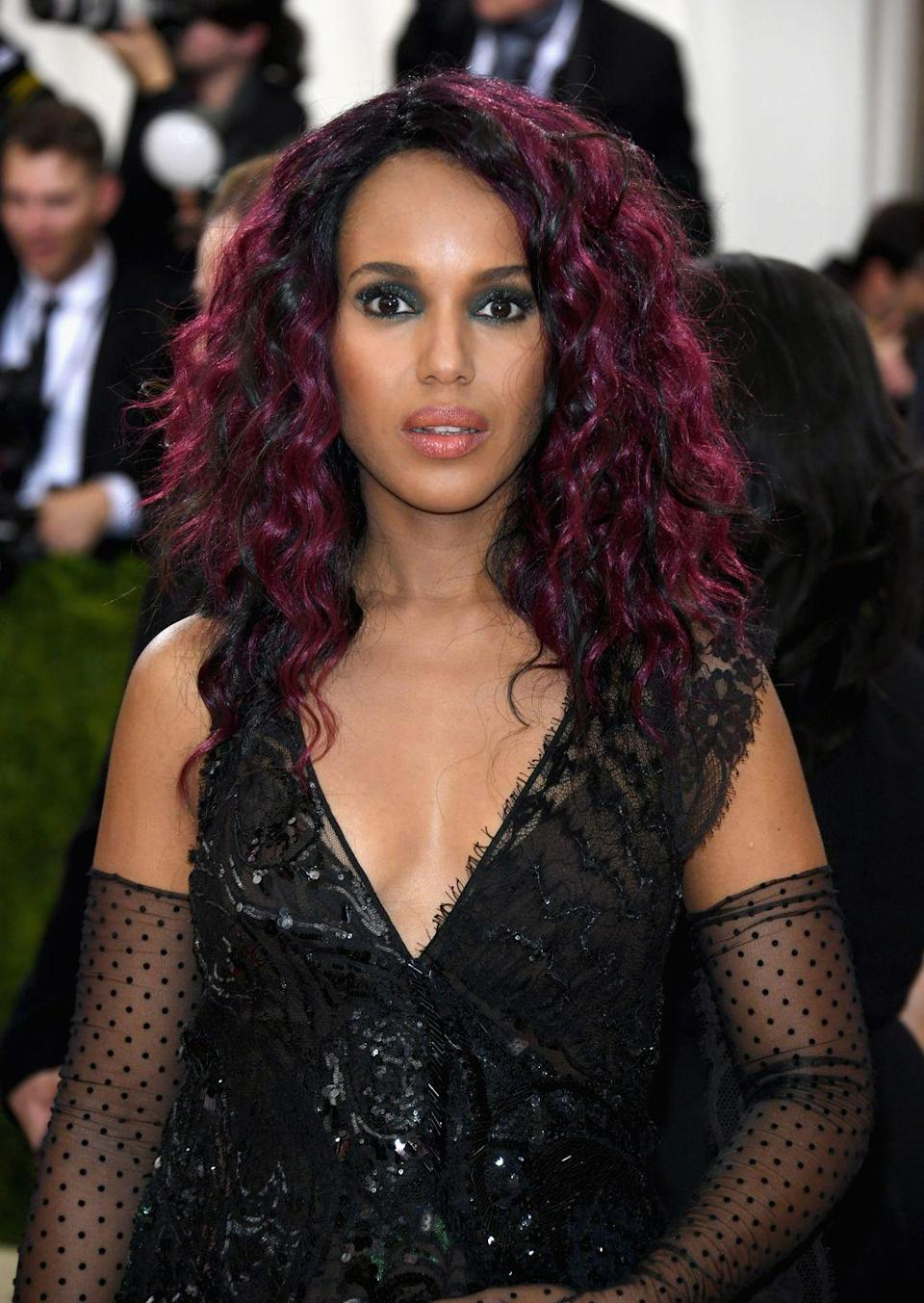 """<p>If you're not ready to commit to an all-over dye job, highlights are the perfect solution. Just ask <a href=""""https://www.oprahmag.com/beauty/skin-makeup/a25843904/kerry-washington-skin-routine/"""" rel=""""nofollow noopener"""" target=""""_blank"""" data-ylk=""""slk:Kerry Washington"""" class=""""link rapid-noclick-resp"""">Kerry Washington</a>, who upped the drama when she attended the 2016 Met Gala. </p><p>""""Adding a touch of color with burgundy highlights provides a splash of intrigue without going overboard,"""" says Boychuck. """"Pair it with a cute <a href=""""https://www.oprahmag.com/beauty/hair/g25382071/best-celebrity-hairstyles/"""" rel=""""nofollow noopener"""" target=""""_blank"""" data-ylk=""""slk:pixie cut"""" class=""""link rapid-noclick-resp"""">pixie cut</a>, and you have your professional look nailed.""""</p>"""