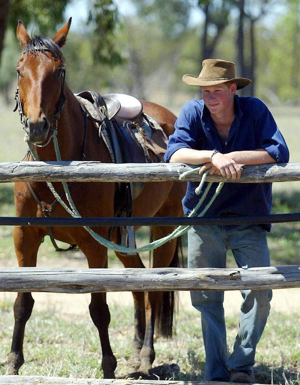 <p>After graduating from Eton and before joining the army, Prince Harry worked on a remote cattle station in Queensland. We have to say, the outback attire really suits him. </p>