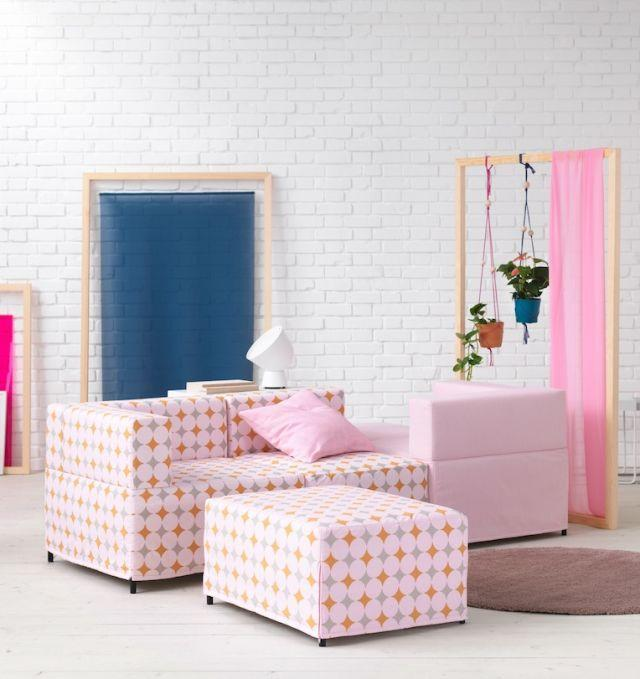 """<p>The KUNGSHAMN modular sofa is available with modules that can be built together in endless possibilities of sizes and configurations. Axelsson says: """"I wanted to make a sofa that reflects how we live today, with quick changes and homes which are flexible yet often small. The modules make it possible to create the exact sofa combination you want – and it's possible to change it when needed.""""</p><p>The one seat, corner and footstool modules attach through a hook connection fitting, so it's easy to rearrange the modules according to living needs. It's available in three different colours – plain pink, beige or a pink diamond pattern.</p><p><strong><em>KUNGSHAMN 3-seat modular sofa, £TBC</em></strong></p>"""