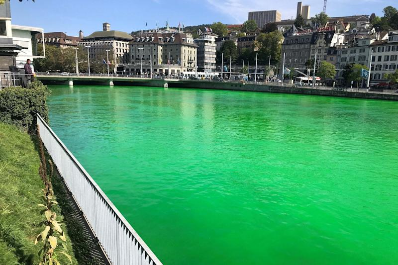 The Limmat River was dyed green this week (VIA REUTERS)