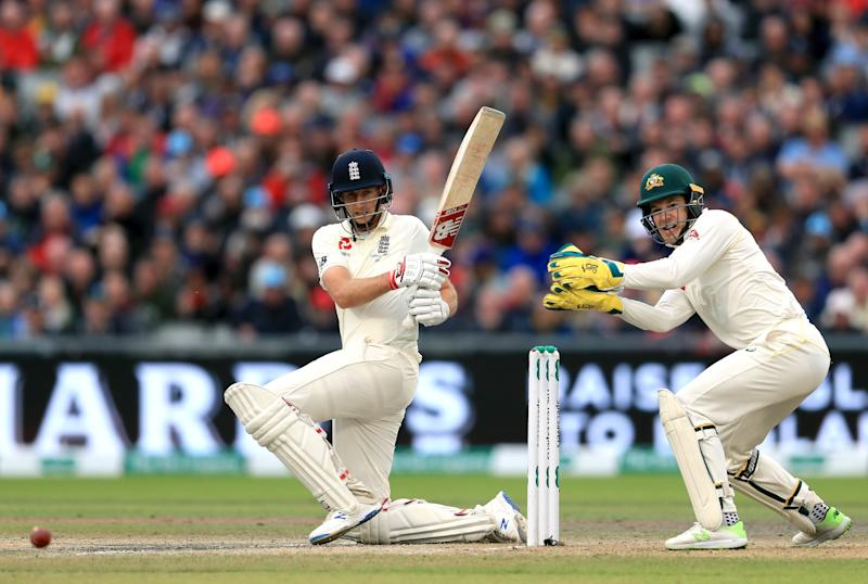 England's Joe Root bats for England on day three. (Credit: Getty Images)